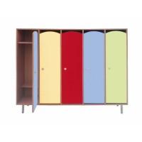 Шкаф детский 5-ти секционный для одежды «СВЕТЛЯЧОК» ЛДСП ЦВЕТНОЙ ФАСАД и Металлические ножки
