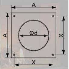10НКП, Накладка торцевая 150х150, для круглого воздуховода D100