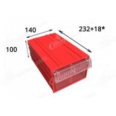 Пластиковый короб С2, красный/прозрачный